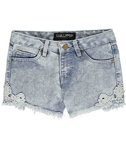 "Chillipop Little Girls' ""Frayed & Crocheted"" Short Shorts (Sizes 4 – 6X) - CookiesKids.com"