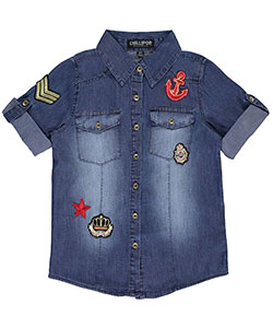 "Chillipop Big Girls' ""Royal Navy"" Button-Down Shirt (Sizes 7 – 16) - CookiesKids.com"