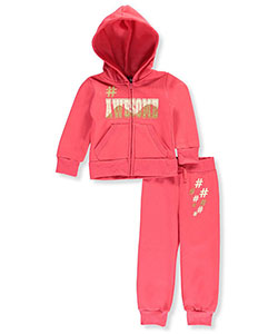 "Chillipop Little Girls' ""#Awesome"" 2-Piece Fleece Sweatsuit (Sizes 4 – 6X) - CookiesKids.com"
