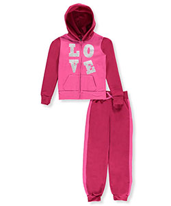 "Chillipop Big Girls' ""Quilted Shine"" 2-Piece Fleece Sweatsuit (Sizes 7 – 16) - CookiesKids.com"