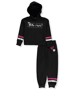 "Chillipop Big Girls' ""L'Amour"" 2-Piece Fleece Sweatsuit (Sizes 7 – 16) - CookiesKids.com"