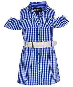 Chillipop Little Girls' Belted Cold Shoulder Shirt-Dress (Sizes 4 – 6X) - CookiesKids.com