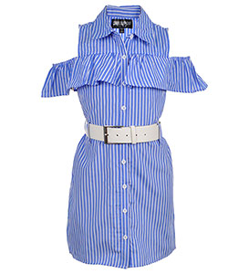 Chillipop Big Girls' Belted Cold Shoulder Shirt-Dress (Sizes 7 – 16) - CookiesKids.com