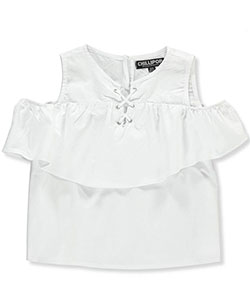 Chillipop Girls' Cold Shoulder Button-Down Top - CookiesKids.com