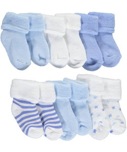 "Mary Jane & Buster Baby Boys' ""Streaked Skies"" 6-Pack Foldover Socks - CookiesKids.com"