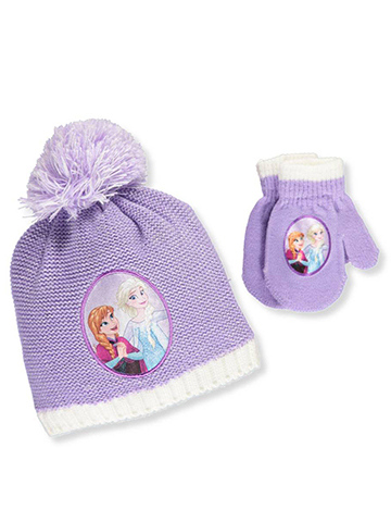 Disney Frozen Girls' Beanie & Mittens Set (Toddler One Size) - CookiesKids.com
