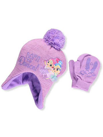 Shimmer and Shine Girls' Beanie & Mittens Set (Toddler One Size) - CookiesKids.com