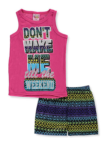 "1000% Cute Little Girls' ""Don't Wake Me till the Weekend"" 2-Piece Pajamas (Sizes 4 – 6X) - CookiesKids.com"