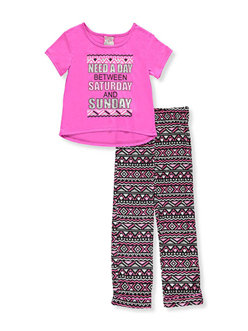 "Sweet n Sassy Big Girls' ""More Weekend"" 2-Piece Pajamas (Sizes 7 – 16) - CookiesKids.com"