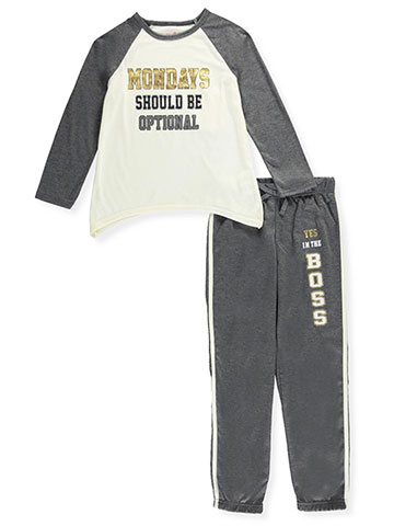 "Delia's Big Girls' ""Optional Mondays"" 2-Piece Pajamas (Sizes 7 – 16) - CookiesKids.com"