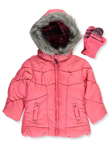 6526652b4 London Fog Little Girls' Insulated Jacket with Mittens (Sizes 4 – 6X)