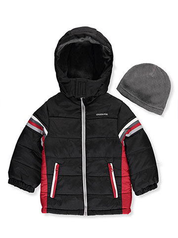 London Fog Little Boys' Toddler Insulated Jacket with Beanie (Sizes 2T – 4T) - CookiesKids.com