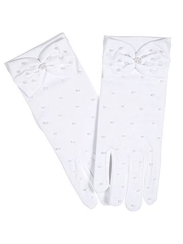 "The Communion Collection ""Pearly Bow"" Gloves (Size 7 - 12) - CookiesKids.com"