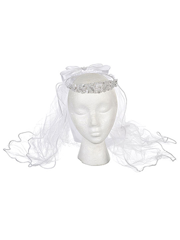 "American Exchange ""Pearly Bubbles"" Communion Tiara with Veil - CookiesKids.com"