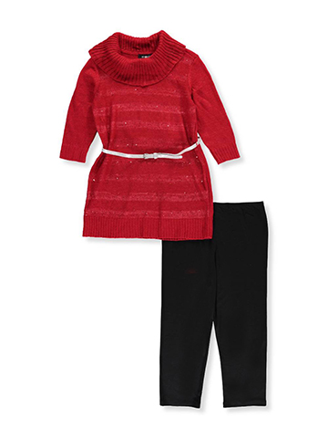 Amy Byer Big Girls' Plus Size 2-Piece Belted Pants Set Outfit (Sizes 10.5 - 20.5) - CookiesKids.com