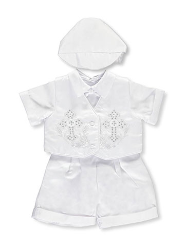 "Precious Angels Baby Boys' ""Bejeweled Crosses"" 4-Piece Christening Tuxedo - CookiesKids.com"