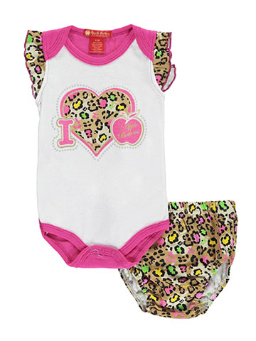 "Apple Bottoms Baby Girls' ""Leopard Ruffle"" Bodysuit with Diaper Cover - CookiesKids.com"