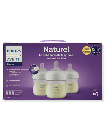 Avent 3-Pack Natural Wide-Neck Bottles (4 oz.) - CookiesKids.com