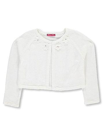 "Princess Faith Little Girls' ""Rosette Neckline"" Shrug Cardigan (Sizes 4 – 6X) - CookiesKids.com"