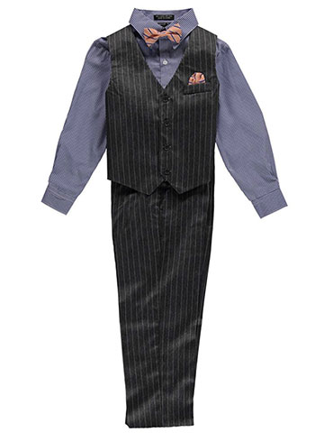 "Andrew Fezza Big Boys' ""Shadowed Pinstripes"" 4-Piece Vest Set (Sizes 8 – 20) - CookiesKids.com"