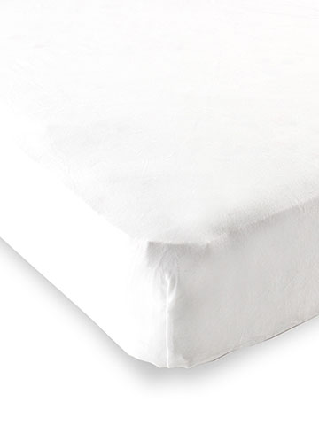 "Luvable Friends Solid White Fitted Crib Sheet (28"" x 52"") - CookiesKids.com"