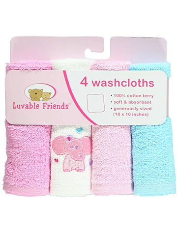 "Luvable Friends ""Jungle Fun"" 4-Pack Washcloths - CookiesKids.com"