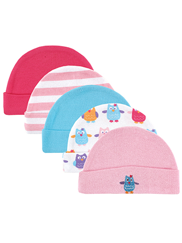 "Luvable Friends Baby Girls' ""Owls"" 5-Pack Caps - CookiesKids.com"