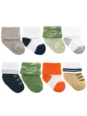 "Luvable Friends Baby Boys' ""Boots & Camo"" 8-Pack Socks - CookiesKids.com"