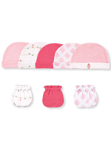 Luvable Friends Baby Girls' 8-Pack Caps & Scratch Mitts - CookiesKids.com