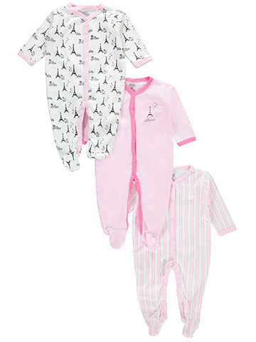 "Luvable Friends Baby Girls' ""Parisian Party"" 3-Pack Coveralls - CookiesKids.com"
