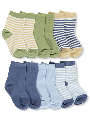 "Touched by Nature Baby Boys' ""Neutral Stripe"" 6-Pack Crew Socks - CookiesKids.com"