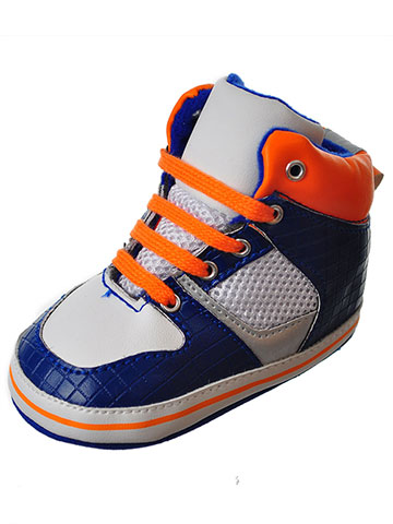 First Steps by Stepping Stones Baby Boys' Hi-Top Sneaker Booties - CookiesKids.com