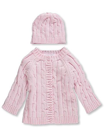 Baby Dove Baby Girls' Cable Knit Cardigan & Beanie Set - CookiesKids.com