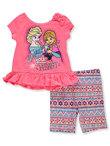 Disney Frozen Baby Girls' 2-Piece Short Set Outfit featuring Anna & Elsa - CookiesKids.com