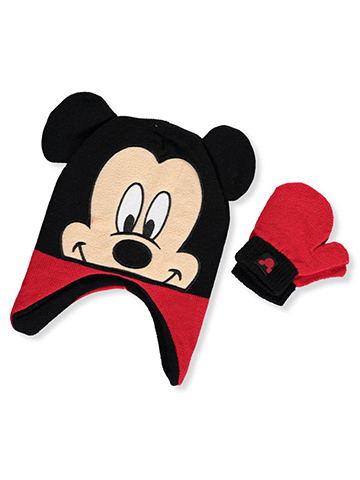 Disney Mickey Mouse Earflap Beanie & Mittens Set (Youth One Size) - CookiesKids.com