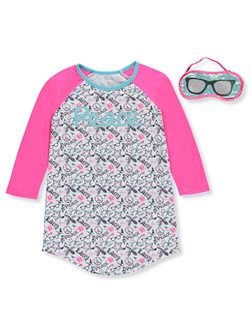 "Sleep On It Little Girls' ""Peace"" Nightgown with Eye Mask (Sizes 4 – 6X) - CookiesKids.com"