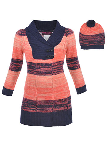 "Dollhouse Little Girls' Toddler ""Shawl Contrast"" Sweater Dress with Hat (Sizes 2T – 4T) - CookiesKids.com"
