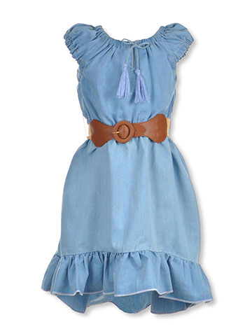 "Dollhouse Little Girls' ""Ruffled Chambray"" Belted Hi-Low Dress (Sizes 4 – 6X) - CookiesKids.com"