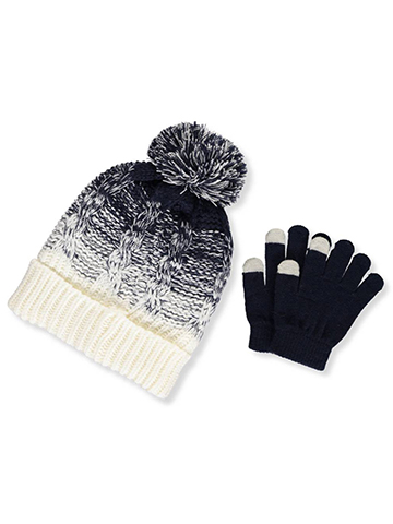 DKNY Girls' Knit Beanie & Gloves Set (Youth One Size) - CookiesKids.com