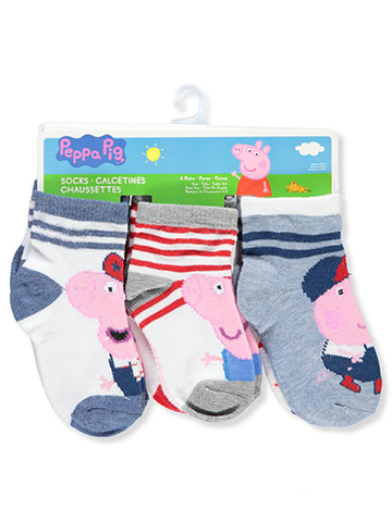 Peppa Pig Boys' 6-Pack Crew Socks - CookiesKids.com