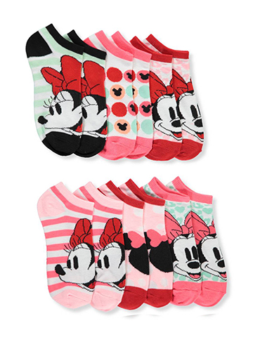 Minnie Mouse Girls' 6-Pack Ankle Socks - CookiesKids.com