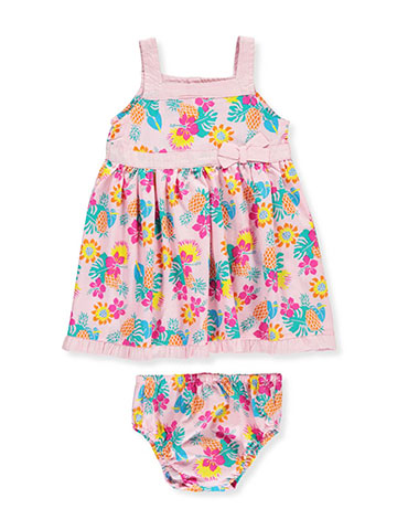 "Sweet Baby Girls' ""Pineapple Flora"" Dress with Diaper Cover - CookiesKids.com"
