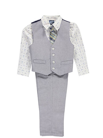 "Nautica Little Boys' ""Woods Hole"" 4-Piece Vest Set (Sizes 4 – 7) - CookiesKids.com"