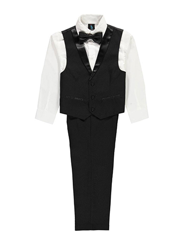 "Young Kings Big Boys' ""Black Tie"" 4-Piece Vest Set (Sizes 8 – 20) - CookiesKids.com"