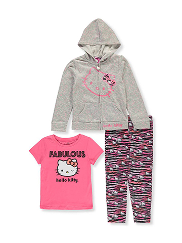 Hello Kitty Girls' 3-Piece Pants Set Outfit - CookiesKids.com