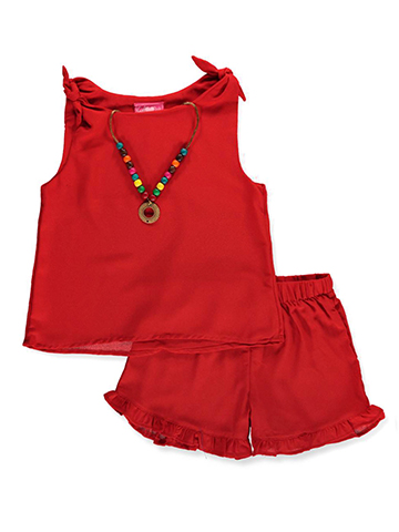 Girls Luv Pink Girls' 2-Piece Short Set Outfit with Necklace - CookiesKids.com