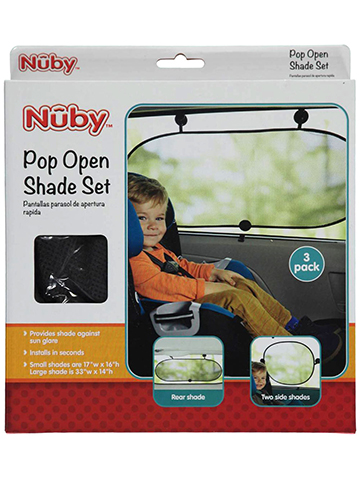 "Nuby ""Passenger Friendly"" Pop Open Shade 3-Pack - CookiesKids.com"