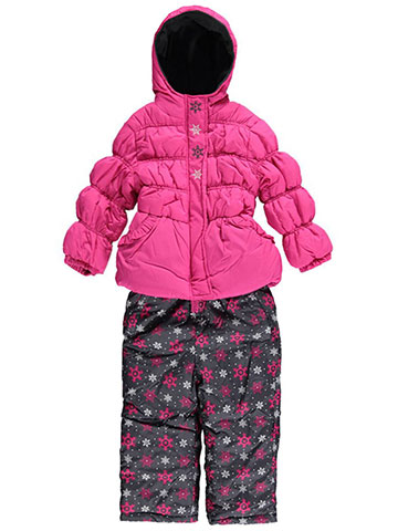 "Pink Platinum Little Girls' ""Snowflake Row"" 2-Piece Snowsuit (Sizes 4 – 6X) - CookiesKids.com"