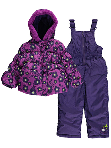 "Pink Platinum Little Girls' ""Spirited Flowers"" 2-Piece Snowsuit (Sizes 4 – 6X) - CookiesKids.com"