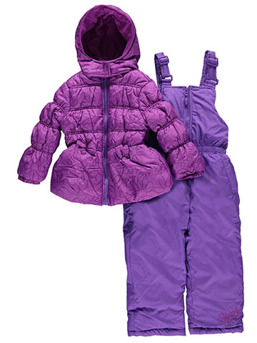 "Pink Platinum Little Girls' ""Frosty Floral"" 2-Piece Snowsuit (Sizes 4 – 6X) - CookiesKids.com"